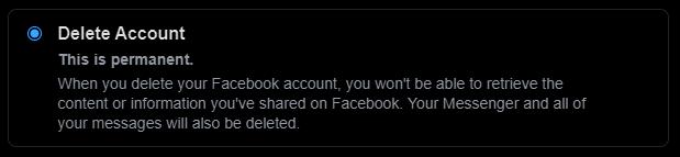 Delete account option