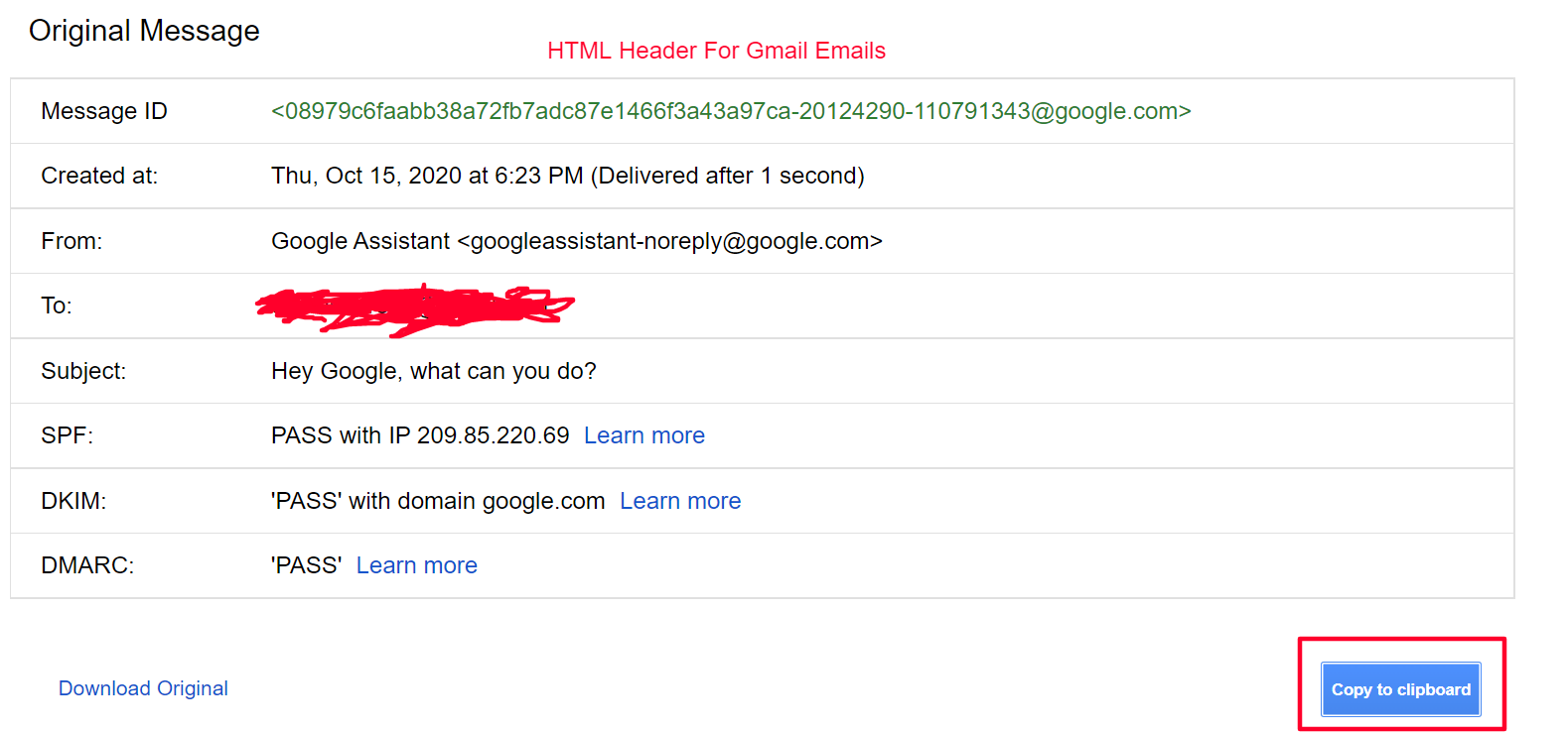 Email Message Header