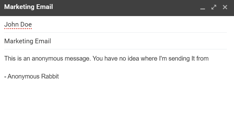 Sending An Anonymous Email