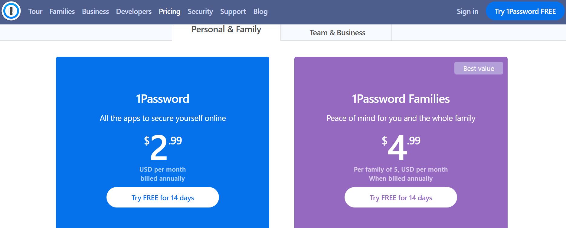 1Password Pricing